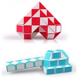 2 Pack Fidget Magic Snake Cube Puzzles Twist Ruler Speed Cubes Brain Teaser Game Toys for Kids Random Color (60 Block)