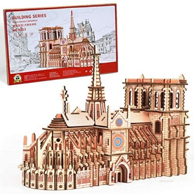 3D Wooden Puzzles for Adults Medium Difficulty Notre Dame de Paris  Wonderful Cathedral Architecture Model DIY Kits 239 Pieces - Brain Teaser Challenge for Kids 14+ Years Old