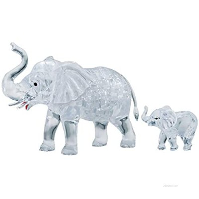 HCM Kinzel Crystal Puzzle 59176 3D Elephant Couple 46 Pieces  Grey