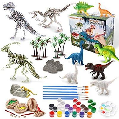 IPHUNGO Dinosaur Arts and Crafts for Kids Age 3 4 5 6 7 8 9 10 12 Dinosaur Painting Toy Set for Boys Girls with Play Mat  Paint Your Own Dino Toys