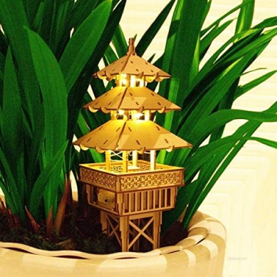 QOGELY 3D Wooden Puzzles for Adults—Miniature Temple Model with LED String Lights DIY Set Building Kits Home & Plant Decor Boyfriend Men Unique Birthday Ideas
