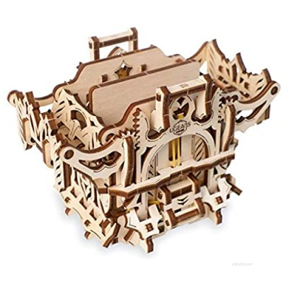 UGEARS 3D Puzzle for Board Games – Deck Box for up to 120 Game Cards - Unique Mechanical Devices for Family Tabletop Role-Playing Games - Wooden Construction Kits for Adults