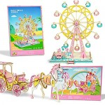 Wooden 3D Puzzles Set for Adults- Carriage and Ferris Wheel Puzzles for Girls 14+ Years Old - Great Birthday Gifts & Holiday DIY Gifts Girlfriend