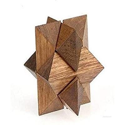 StealStreet SS-CQG-6106 Wooden Star Shaped Brain Teaser 3D Puzzle  3-Inch  Dark Brown