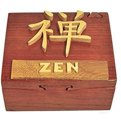 Handmade Wooden Art Intarsia TRICK SECRET Chinese character symbols: zen Jewelry Puzzle Trinket Box (4541) (g3)