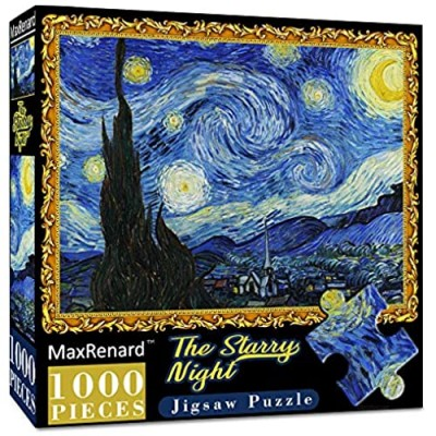 MaxRenard 1000 Piece Puzzles for Adults Starry Night Jigsaw Puzzle 1000 Pieces Van Gogh Puzzle Cool Classic Famous Paintings