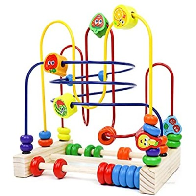 Fajiabao Wooden Activity Cube for Baby Bead Maze Fruits Slide Counting Math Abacus Montessori Sensory Toys Roller Coaster Educational Birthday Gifts Indoor Games for Walkers Boys Girls 1 2 3 4 Years