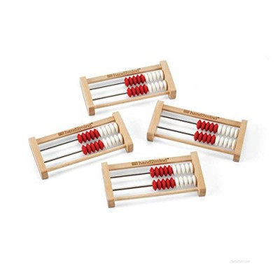hand2mind 20-Bead Wooden Rekenrek Abacus  Colored Abacus for Kids Math  Wooden Counting Math Manipulatives  Bead Counters for Kids Math  Learn Counting and Numbers  Homeschool Supplies (Set of 4)