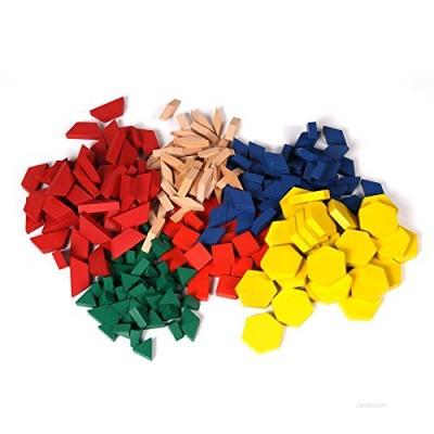 hand2mind Wood Pattern Blocks for Kids  Shapes for Kindergarten  Montessori Toys  Geometric Shapes  Symmetry  Shape Recognition  Pattern Blocks for Classroom (Set of 250)