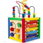 Play22 Activity Cube with Bead Maze - 5 in 1 Baby Activity Cube Includes Shape Sorter Abacus Counting Beads Counting Numbers Sliding Shapes Removable Bead Maze - My First Baby Toys - Original