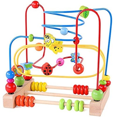 QZMTOY Bead Maze Toy for Toddlers Wooden Colorful Roller Coaster Educational Circle Toys for Kids Sliding Beads On Twists Wire Training Child Attention Count and Grasping Ability