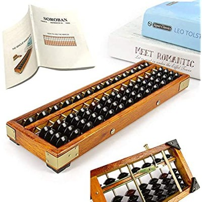 Vintage Style Wooden Abacus Soroban 13 Column(10.7 in)Math Professional Abacus for Adults Kids with Guide Handbook and Reset Button  Anti-Skid Rubber Feet