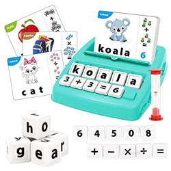 KaeKid Kids Learning Toys for 3 4 5 6 7 8 Year Olds  Matching Letter Spelling Games with 32 Flash Cards  Math Learning Preschool Educational Game  Birthday Gift for Boys Girls