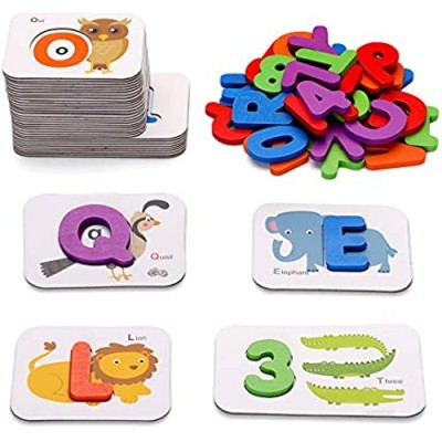 Revanak Alphabet and Number Flash Cards Wooden Jigsaw Puzzle Peg Board Set Preschool Learning Educational Montessori Toys for Toddlers Kids Boys Girls Aged 3 4 5 Years Old Gifts Idea