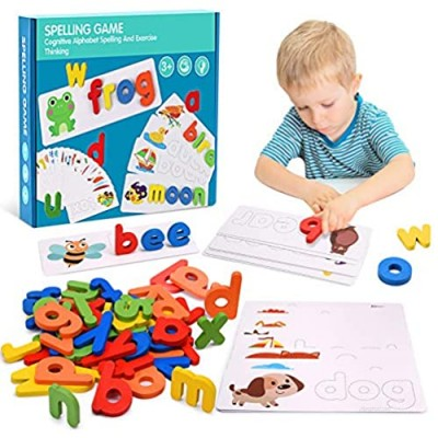 Tesoky Educational Toys for 2-8 Year Old Boys Girls  80 PCS Preschool Learning Spelling Games for Kids Matching Letter Game Flash Cards Sight Word Game Birthday Gifts for 2-8 Year Old Girls Boys