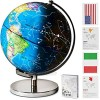 """12"""" Tall Illuminated Educational Kids World Globe + STEM Flags & Countries Interactive Card Game. 3 in 1 Children Desktop Spinning Earth Political & Constellation Maps  LED Night Light Lamp with Stand"""