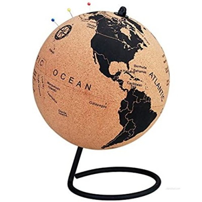7 Inch Cork Globe with Color Push Pins – Rotatable World Globe Cork – Educational World Map - Durable Stainless Steel Base Easy Spin – Keep Track of Your Travels - Classy Décor for Home Office