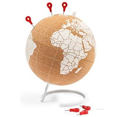 Cork Globe  6 Push Pins  Educational World Map for Desktop (7.87 x 9.84 in)