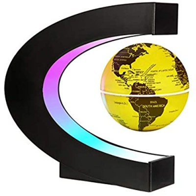 Gresus Upgraded Magnetic Levitation Floating World Map Globe with C Shape Base  Floating Globe with LED Lights  Great Fathers Students Business Boyfriend Birthday Gift for Home Desk Decoration (Gold)