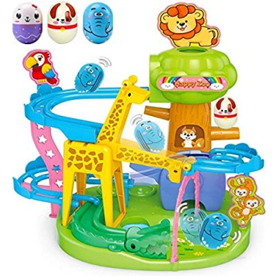 Animal Track Marble Run Tower for Baby 12-18 Months Toys -Toddler Development Educational Toys   Stack  Drop and Go Ball Ramp Toy Set Includes 3 Roly-Poly Activity Balls with Colorful Animal Indicator