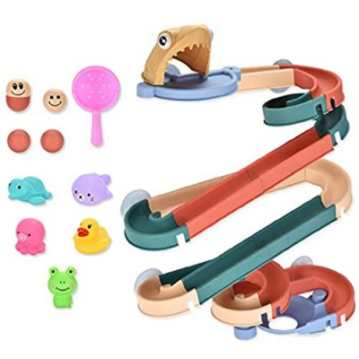 FANXU 39 PCS Children's Bath Toys DIY Water Slide and Animal Park Building Block Toy Set Fun Water Track with Suction Cup Bathtub Toy Gift Suitable for 3-8 Years Old Boys and Girls