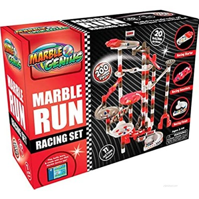 Marble Genius Marble Run Racing Set (200 Pieces) with Designer Marbles  Racing Action Pieces  & Tournament Board