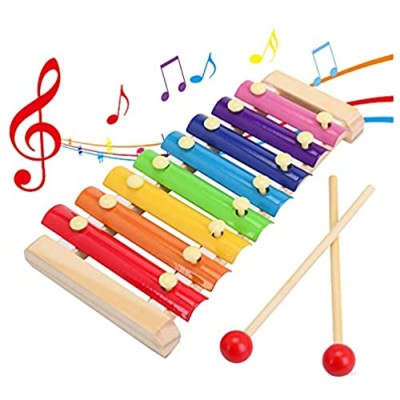 SGVV90 Wooden Xylophone Children's Musical Instruments Toy Wooden 8 Keys Hand Knock with Mallets Preschool Educational Toys Great Gift for Kids Girls and Boys Toddlers Ages 3+