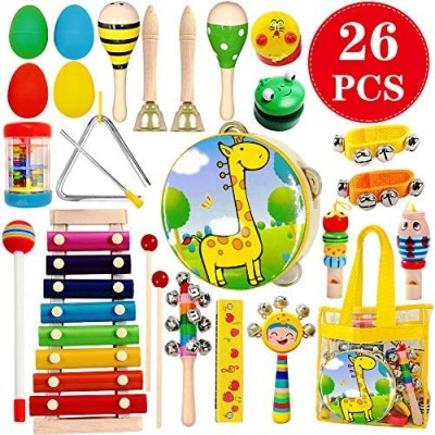 ToyerBee Musical Instruments Toys Set for Kids 26 PCS Wooden Percussion Instruments for Toddlers  Preschool& Educational Music Toy with Storage Bag for Children  Animal Tambourine  Maracas&More
