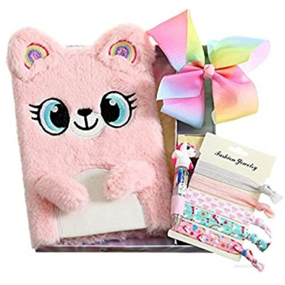 A5 Diary Notebook Gift Box With Hair Clip Bow Hair Ties Ribbon Kids Anmial Journal for Teen Girls Gift