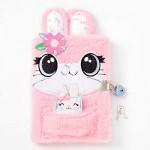 Claire's Plush Lock Diary for Girls Bunny Pink Includes Lock with 2 Keys and Mini Notebook 6x8 Inches