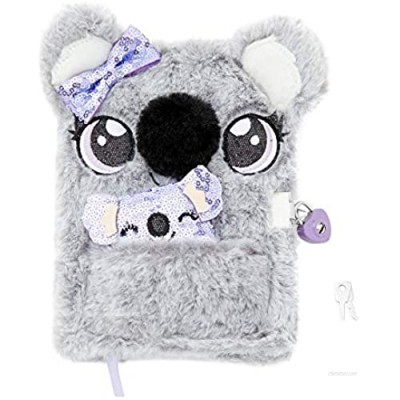 Claire's Plush Lock Diary for Girls  Sidney The Koala  Gray with Purple  Includes Lock with 2 Keys and Mini Notebook  6x8 Inches