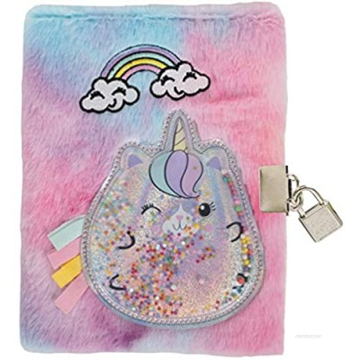 """iscream Furry Holographic Floating Glitter Caticorn Embroidered Accent Lined-Page Lock and Key 8.5"""" Journal"""