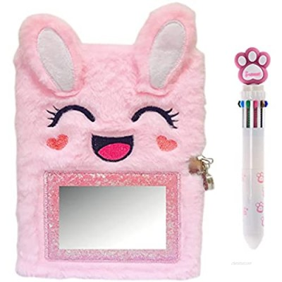 Luolizon Plush Rabbit Diary for Girls with Lock and 2 Keys  Kids Journal Notebook Gift Set with Multicolored Pen   80 Sweet Heart Lined Sheets