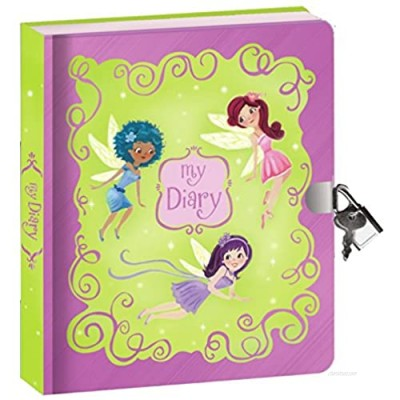 """Peaceable Kingdom Fairies Shiny Foil Cover 6.25"""" Lock and Key  Lined Page Diary for Kids"""