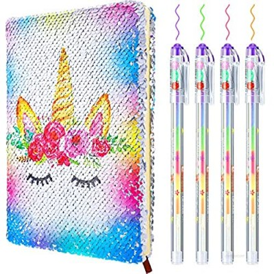 Sequin Notebook Set with 4 Pieces Color Gel Ink Pens Reversible Magic Diary Flip Sequin Journal Writing Journal Set for Valentine's Day Teens Young Girls (Mermaid Color Unicorn)