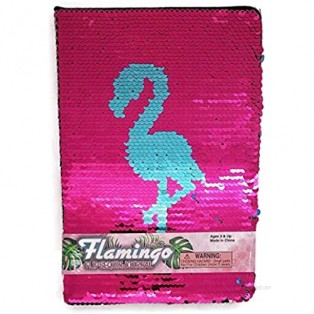 """Zugar Land Flamingo Style Girly Diary Sequin Notebook Journal (80 Pages) 6"""" x 8"""". Lined Pages. (FLIP-Sequin Flamingo)"""