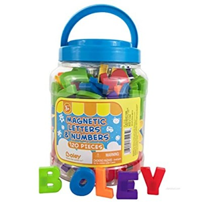 Boley 120 Piece Toddler Bucket of Magnetic Letters and Numbers - Magnetic Play Letters  Numbers and Symbols in A Clear Transportable Bucket - Great Educational Toy for Kids  Children  and Toddlers!