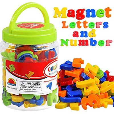 Magnetic Letters Numbers Alphabet ABC 123 Fridge Magnets Plastic Toy Set for Kids Educational Toys Preschool Learning Spelling Counting Uppercase Lowercase Math Symbols for Toddlers Baby