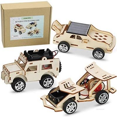CYZAM DIY STEM Science Experiments Kits  3D Puzzle Wooden Models Building Toys  DIY Solar Power Car STEM Projects for Kids Boys Girls Age 8-12 (3 Sets)