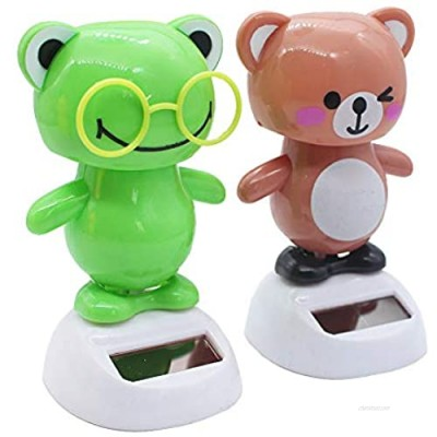 NFZUNW 2 Pcs Solar Powered Dancing Figurine Toy Animal Solar Powered Dancing Toy Doll Kids Gift No Battery Required Bear and Frog