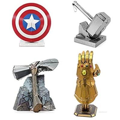 Metal Earth Fascinations 3D Metal Model Kits Set of 4 Marvel Avengers - Infinity Gauntlet - Stormbreaker - Thor Hammer - Captain America Shield