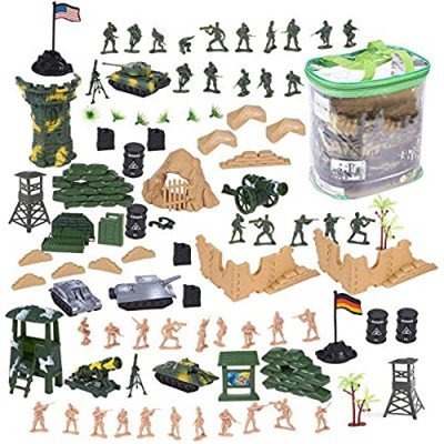 Juvale 100 Piece Military Figures and Accessories - Toy Army Soldiers in 2 Colors  War Soldiers Playset with 2 Flags and Battlefield Accessories