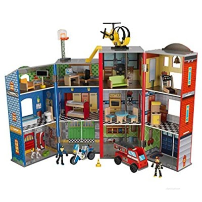 KidKraft Everyday Heroes Wooden Playset  3-Story with 35-Piece Accessories  Foldable for Storage  Gift for Ages 3+