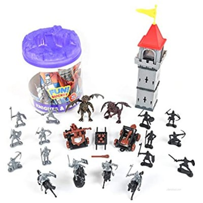 Sunny Days Entertainment Knights and Dragons Figures in Bucket – 42 Assorted Soldiers and Accessories Toy Play Set for Kids  Boys and Girls | Plastic Fantasy Figurines with Storage Container