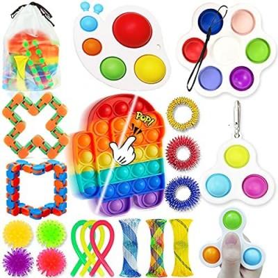 20 Pack Fidget Toy Set  Sensory Fidget Toys Set with Push Popp Bubble Simple Dimple  Stress Relief Fidget Toys Packages  Fidget Toys Pack Cheap for Kids Adults
