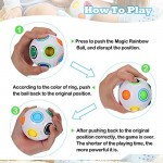 4 Pieces Glow Rainbow Magic Ball Cube Puzzle Toy Brain Teaser with 11 Rainbow for Teens and Adults