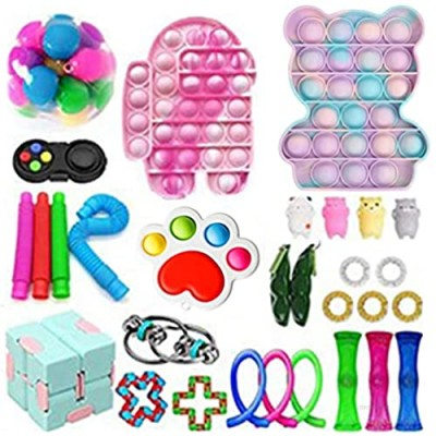 Fidget Toy Packs Cheap Fidget Box with Simples Dimples Pop Bubble DNA Stress Relive Balls for Kids Adults ADHD ADD Anxiety Autism (30pcs c)