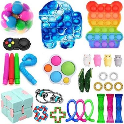 Fidget Toys Pack  Cheap Fidget Pack with Pop Bubble Simple and Dimple  Stress Relief Fidget Toys for Kids & Adults (B-30Pcs)
