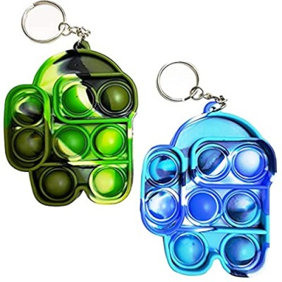 Mini Among Us Push Pop Bubble Sensory Fidget Toy Key Chain 2 Packs-Autism Special Needs Stress Reliever Silicone Stress Reliever Toy  Squeeze Fidget Toy (Camouflageblue+Green)
