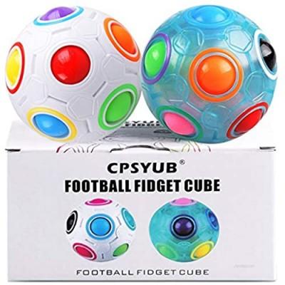 Rainbow Magic Ball Cube 2 Pack Magic Rainbow Ball Fidget Sensory Ball Brain Teasers Games for Puzzle Bundle Stress Fidget Toys for Kids or Adults